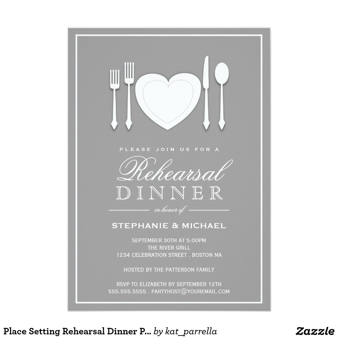 Place Setting Rehearsal Dinner Party Invitation Rehersal Dinner