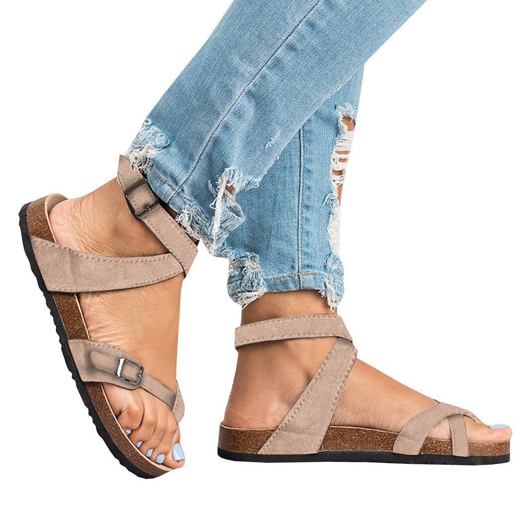 3a5bd5d517b5f ... strappy gladiator birkenstock resort flatform leather jamaica barefoot  Chellysun Roman Sandals Buckle Peep-toe Flat Shoes #sandals #shoes #flats # women ...