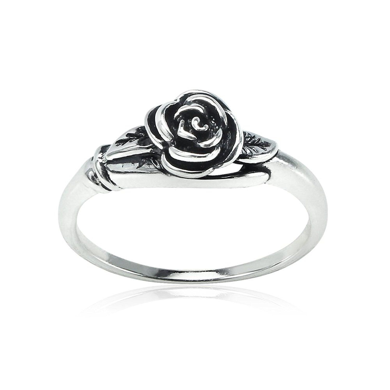 8032aad71 Amazon.com: Sterling Silver Oxidized Flower Rose Ring, Size 9: Jewelry