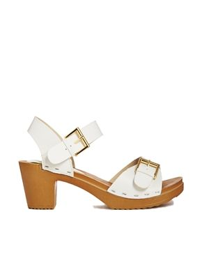 505c2dec631a New Look Pay White Wooden Effect Heeled Sandals