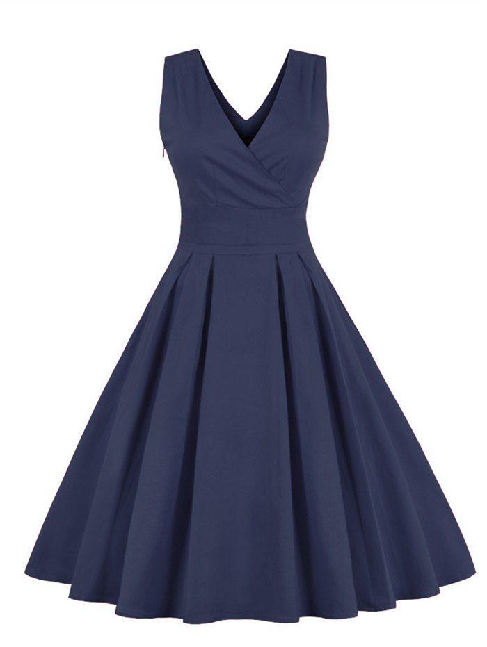 Retro Back Bowknot Sleeveless Midi Dress Market Price Customer