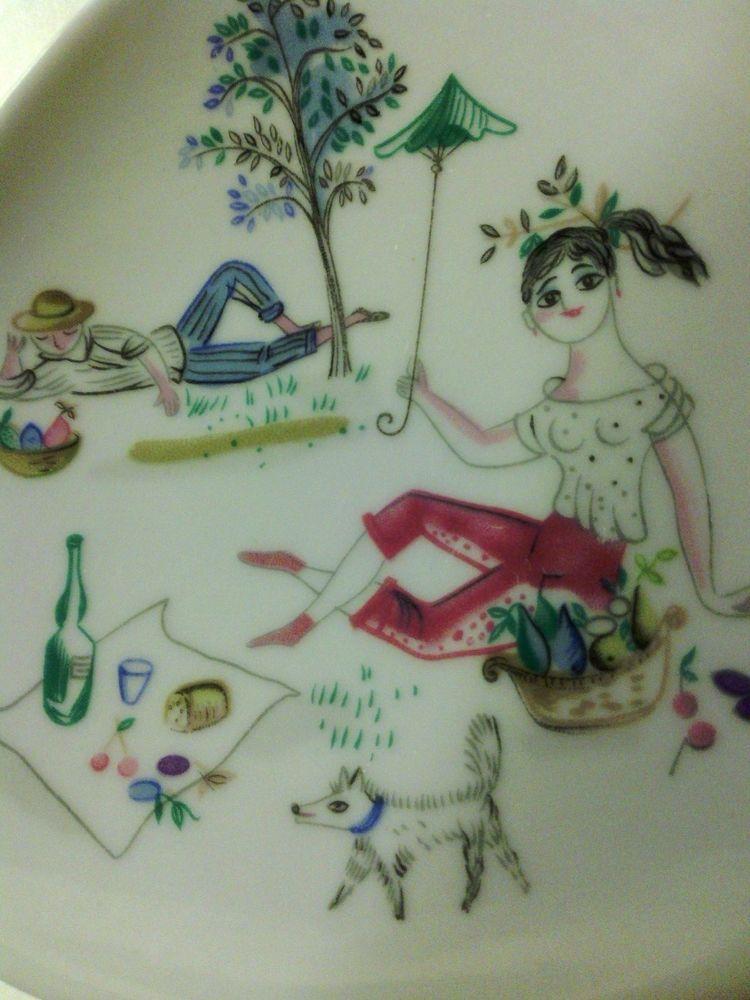 Vintage Rosenthal Germany Bele Bachem Signed Picnic Scene Dish Plate