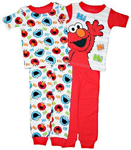 4f9f8c36e9 Sesame Street Elmo Baby Boys 4 pc Cotton Pajama Set Baby boys will love  these Sesame Street Elmo and cookie monster cotton pajamas!