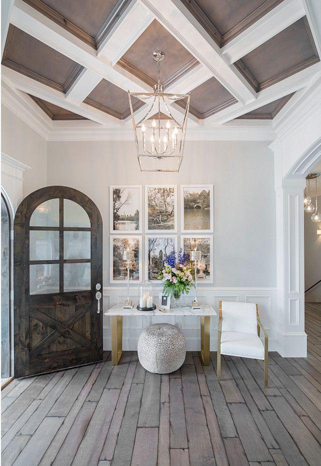 Foyer foyer entryway foyer with lantern pendant plank for Custom ceiling designs