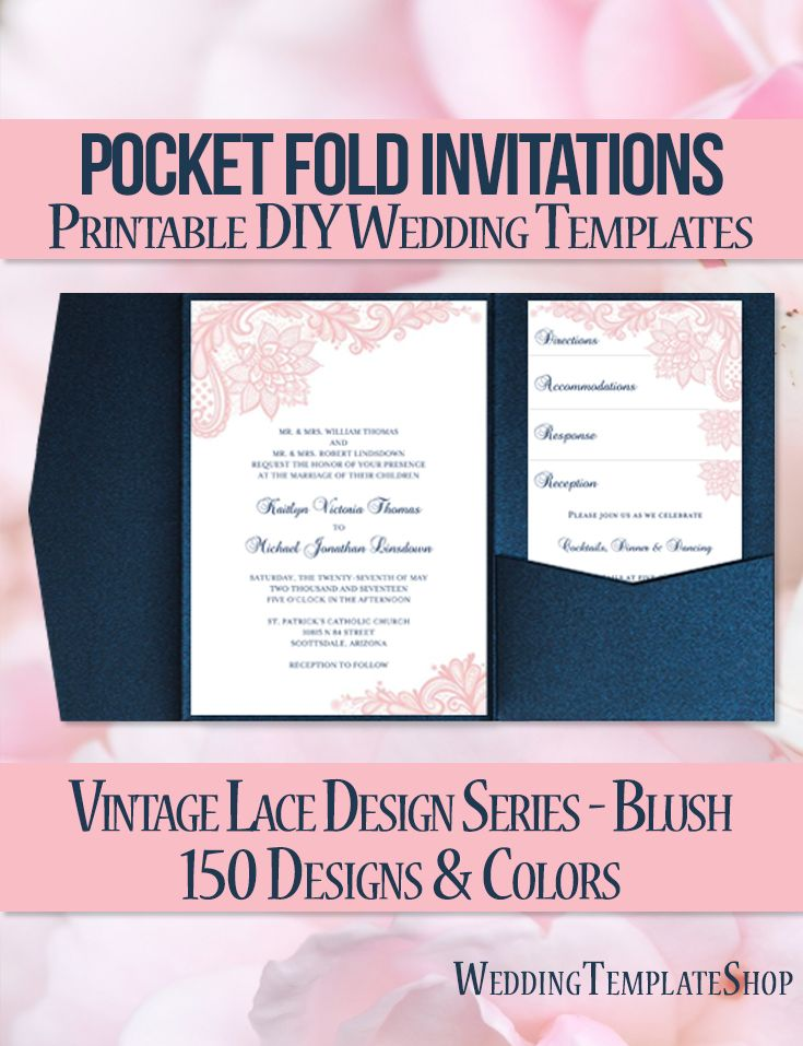 Pocket Fold Wedding Invitations Vintage Lace Blush Pink Navy Blue ...