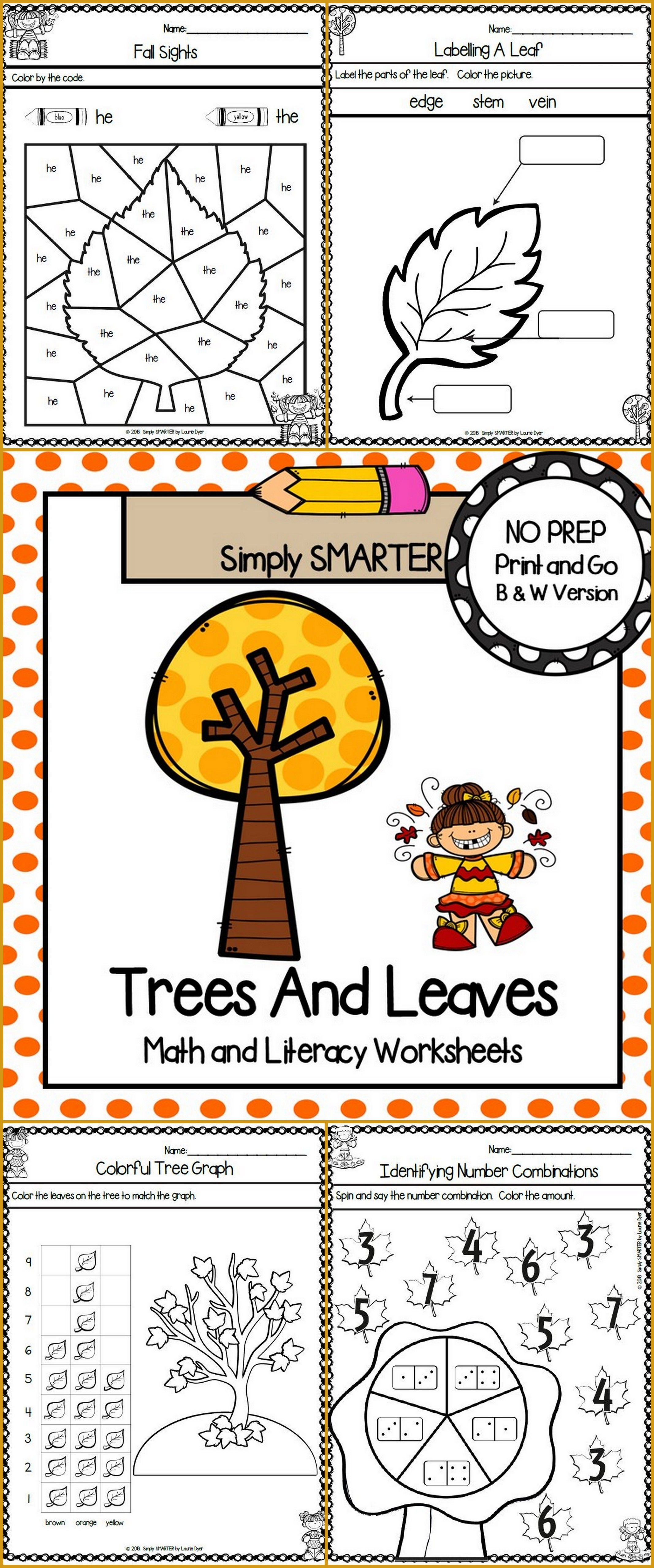 Trees And Leaves Themed Kindergarten Math And Literacy