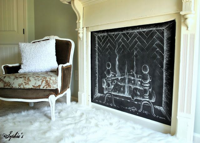 Chalkboard Fireplace - one of 12 unique chalkboard ideas eclecticallyvintage.com