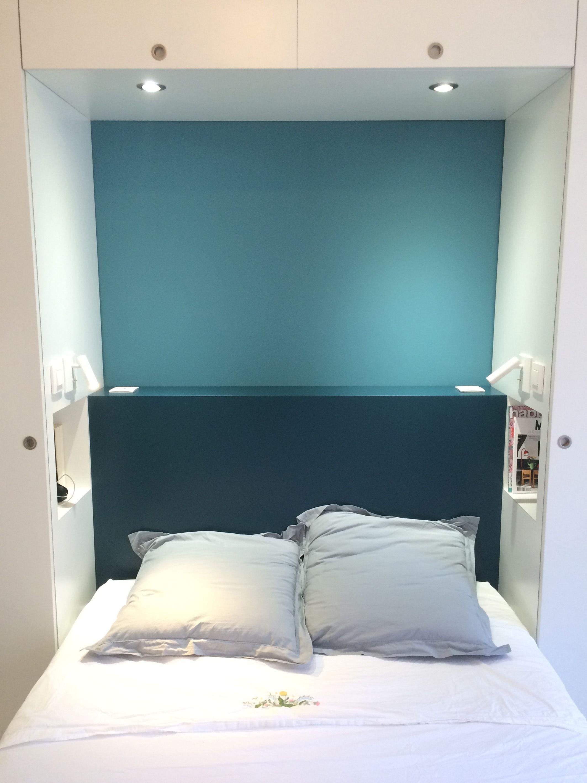 Am nagement sur mesure chambre parentale t te de lit niches encastr es liseuses couleurs bleu - Chambre tete de lit ...