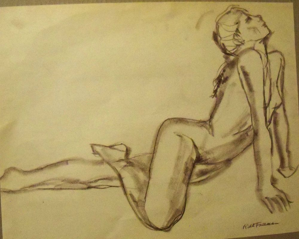 """STRETCHING NUDE"" by Ruth Freeman  CONTE' STICK 17 1/4"" X 21 1/4"" #Realism"