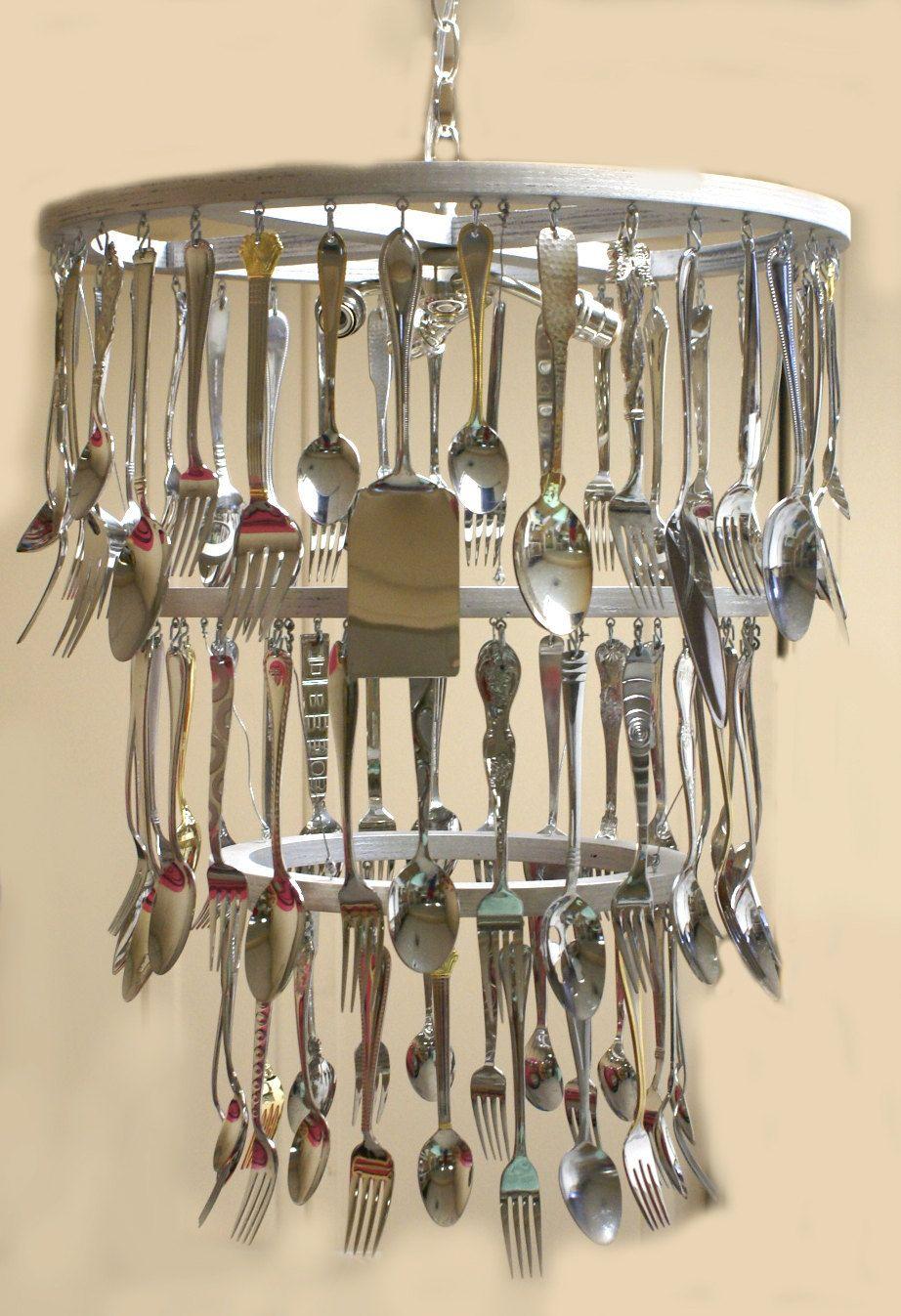 Custom Silverware Chandelier Made With Kitchen Utensils