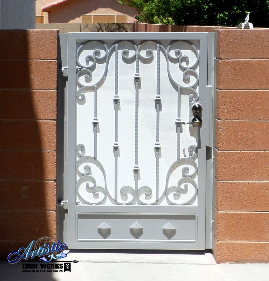 Side Gate With Scrolls Knuckles And Kick Plate Powder Coated Grey
