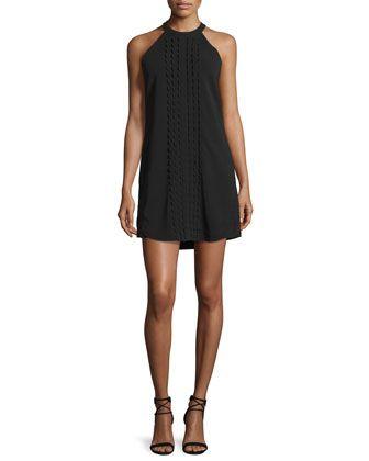 Liv+Sleeveless+Scalloped+Mini+Dress,+Black+by+A.L.C.+at+Neiman+Marcus.