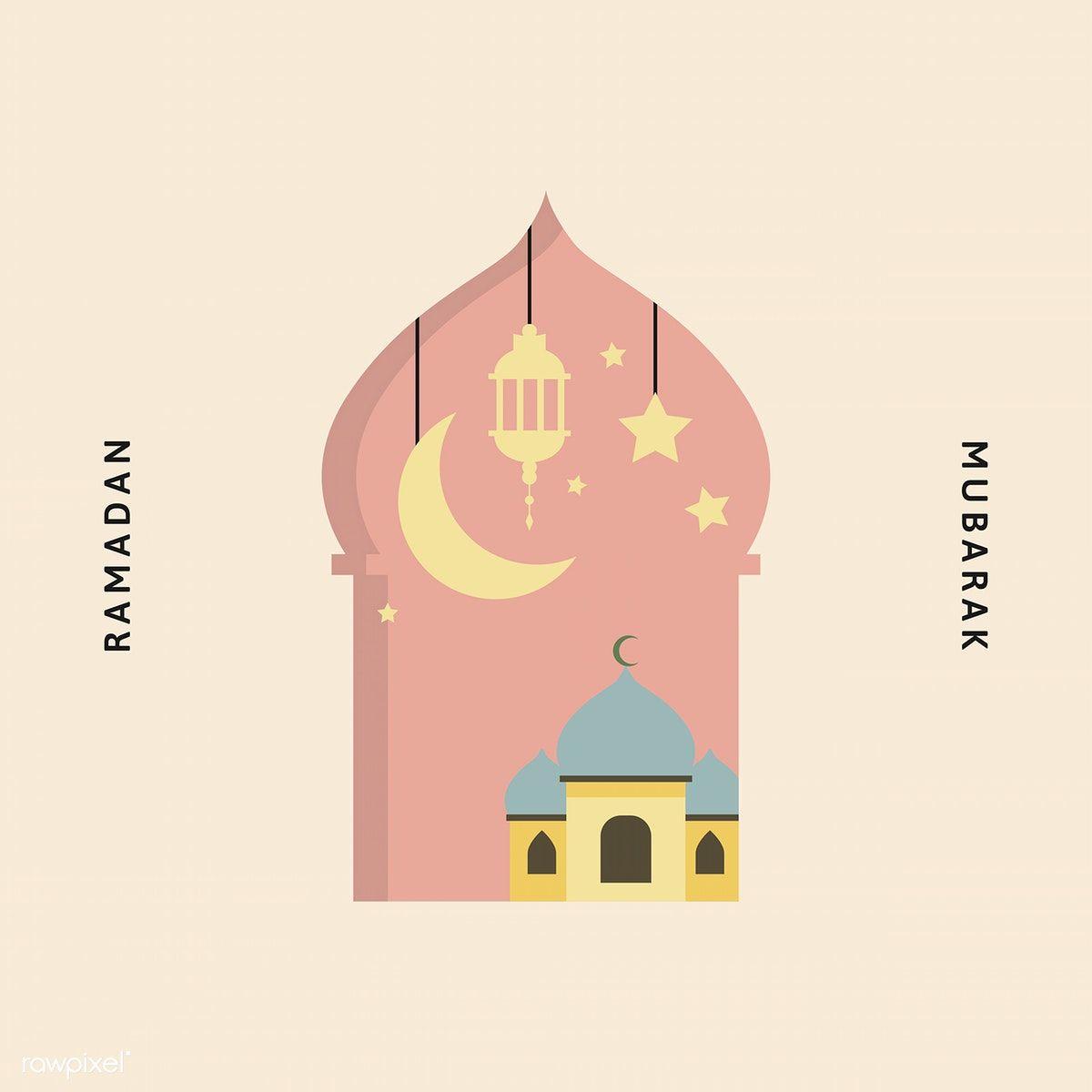 Ramadan Mubarak Card With Mosque Vector Free Image By Rawpixel