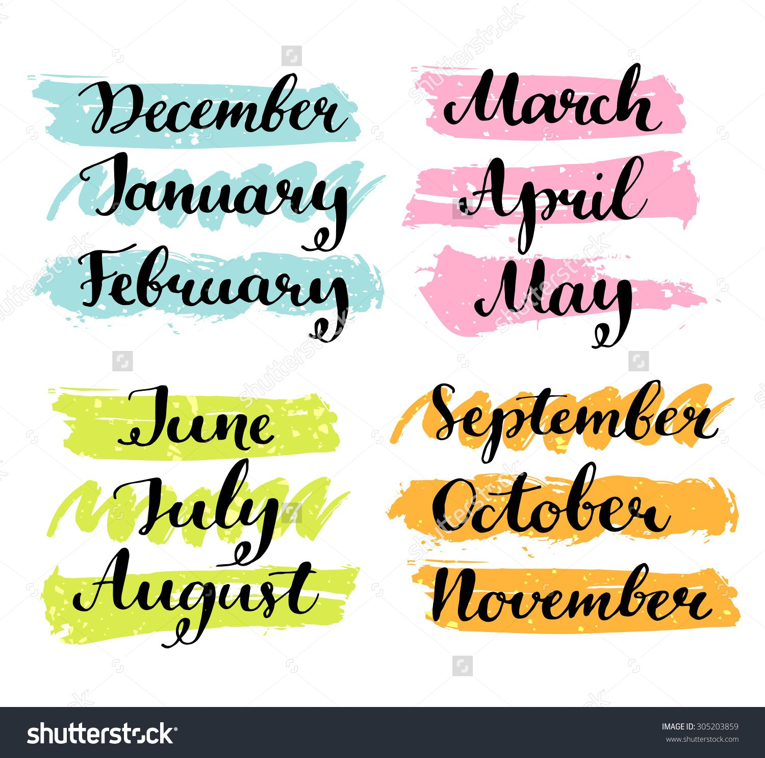 Handwritten months of the year: December, January, February