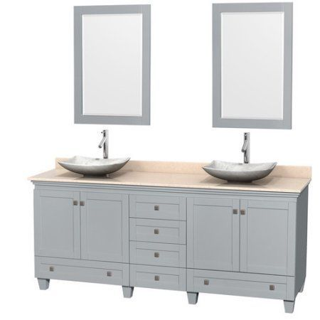 Inspiration Web Design Wyndham Collection Acclaim inch Double Bathroom Vanity in Oyster Gray Ivory Marble Countertop Arista White Carrera Marble Sinks and inch Mirrors