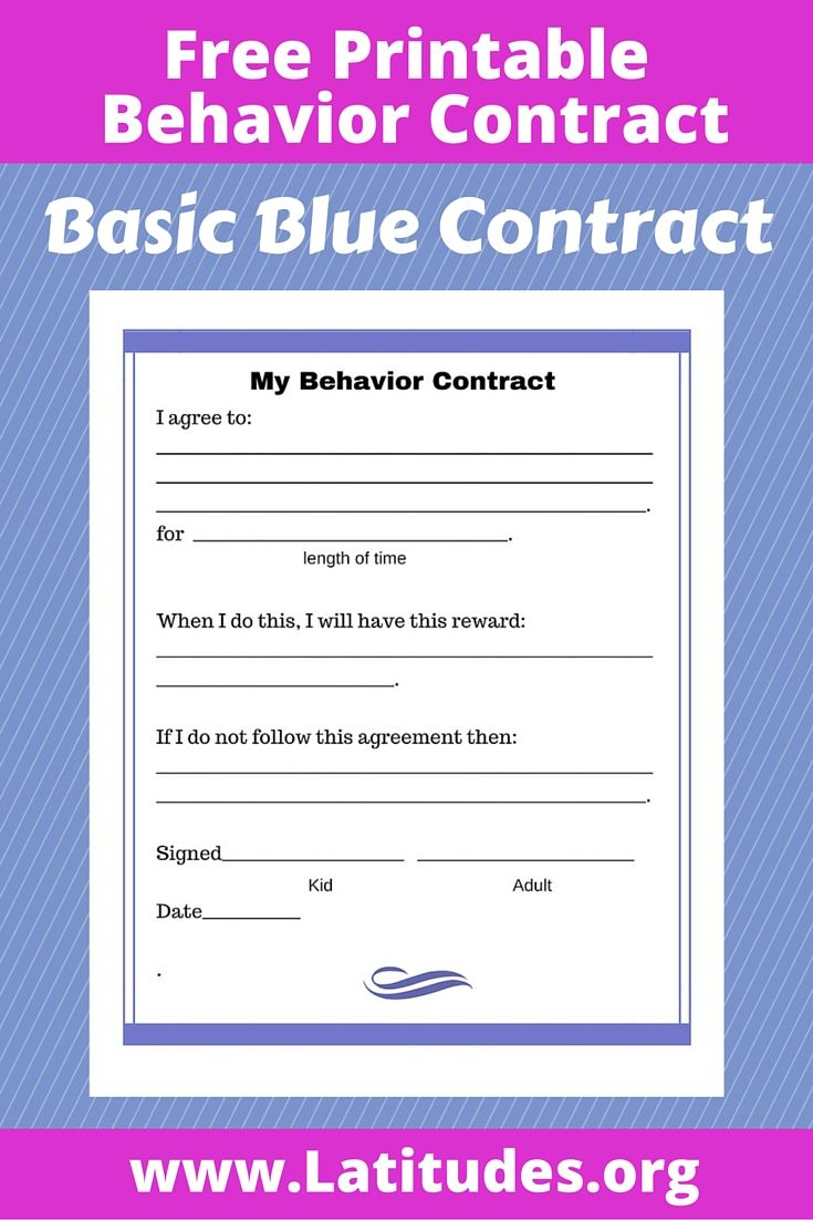 Influential image in behavior contract printable