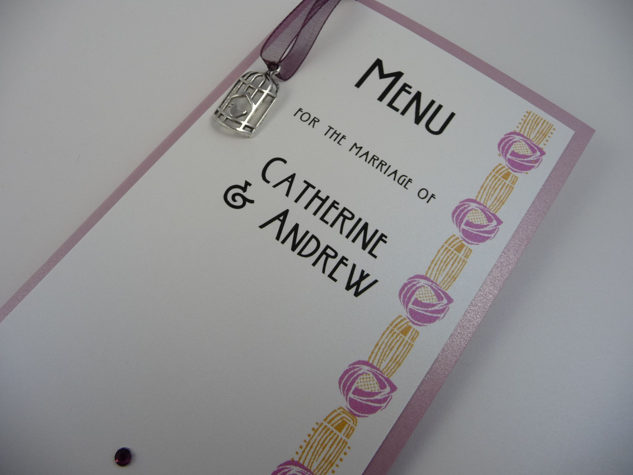 Rennie Mackintosh And Birdcage Themed Wedding Breakfast Menus Our