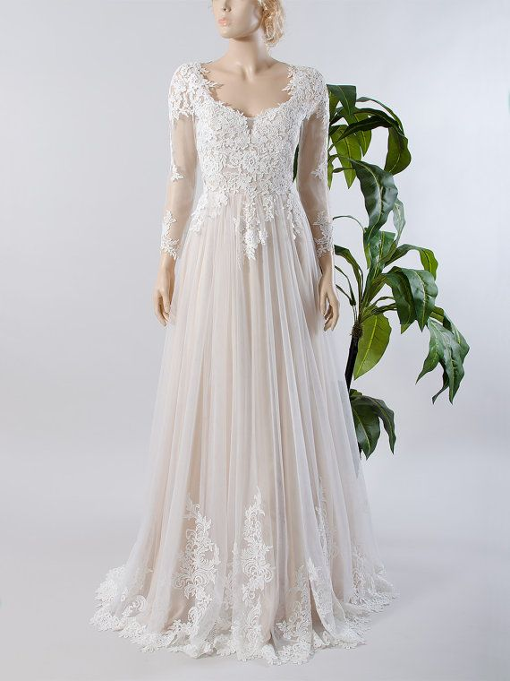 Lace wedding dress, long sleeve wedding dress, bridal gown with ...