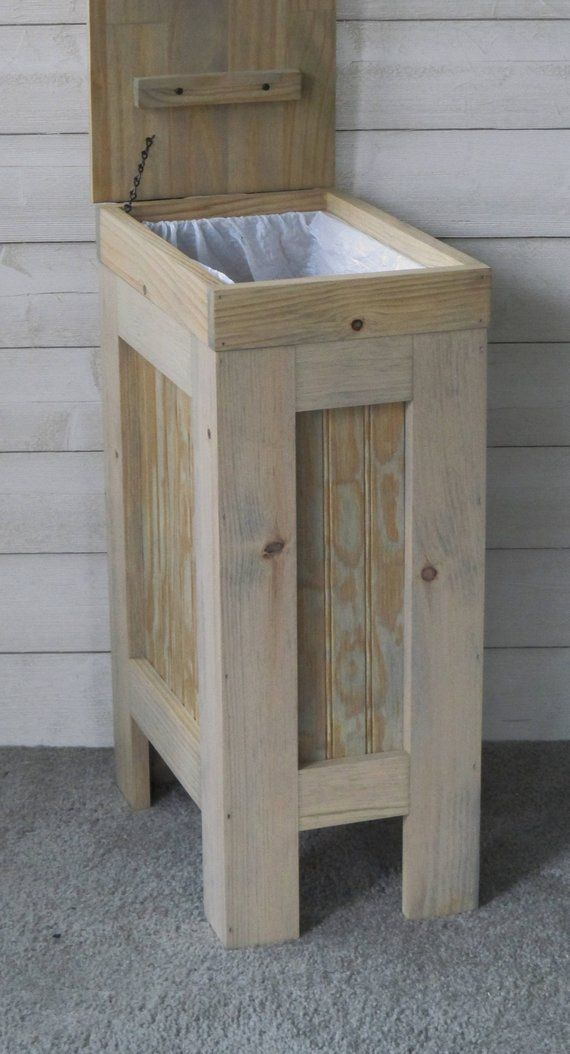 Kitchen Garbage Can Wooden Trash Can Garbage Bin Dog Food Storage 13 Gallon Trash Can Weathered Oak Stain Wooden Trash Can Rustic Kitchen Trash Cans Wood Trash Can