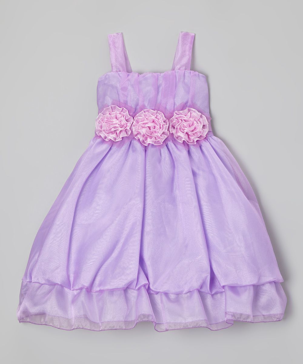 Lilac Rosette Organza Gathered Dress - Girls