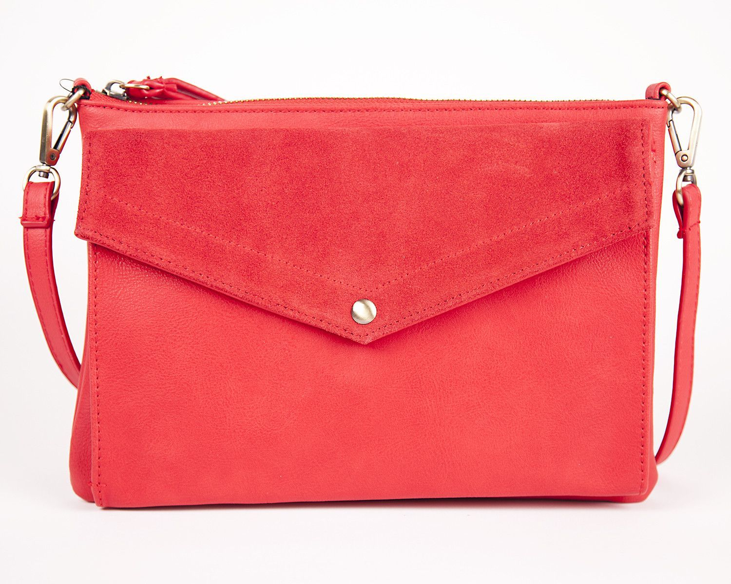 Street Level Red Suede Envelope Clutch