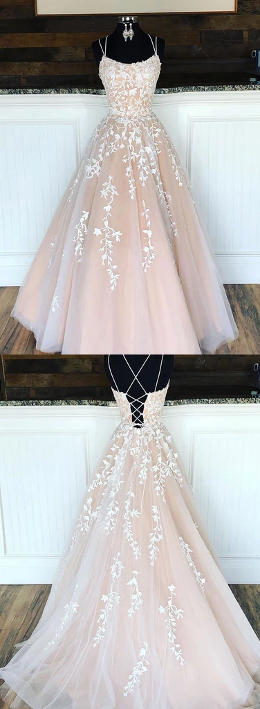 Champagne tulle lace long prom dress, champagne tulle evening dress #promdresses