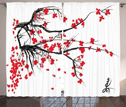 Japanese Curtains Decor by Ambesonne, Sakura Blossom Japanese Cherry Tree Summertime Vintage Cultural Artwork Theme, Living Room Bedroom Curtain 2 Panels Set, 108 X 90 Inches, Red Black is part of Vintage bedroom Curtains -