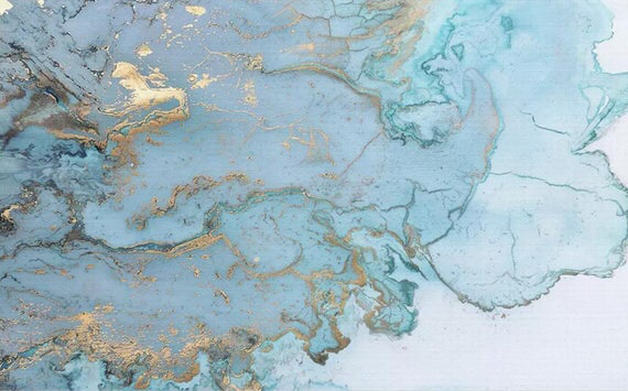 3D Abstract, Blue, Gold, Ink smudge Wallpaper,Removable Self Adhesive Wallpaper,Wall Mural,Vintage art,Peel and Stick
