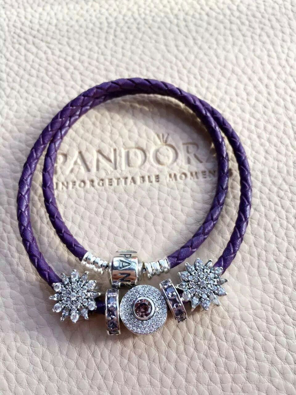 179 Pandora Leather Charm Bracelet Purple Hot Sku Cb02109 Ideas