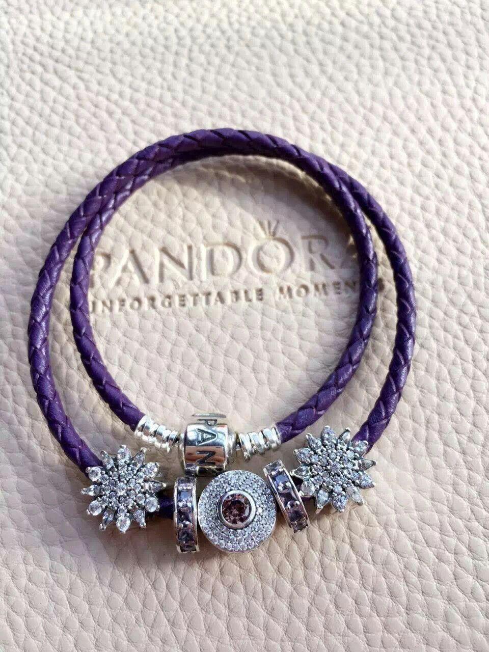 $179 Pandora Leather Charm Bracelet Purple. Hot Sale!