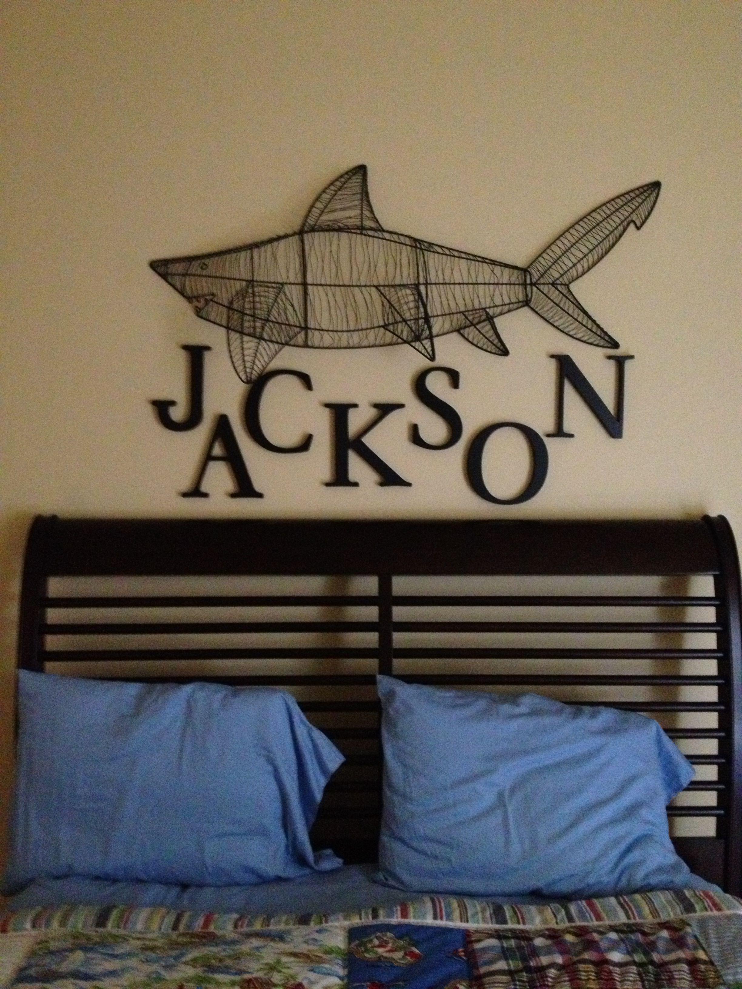 metal shark for boys room at the beach