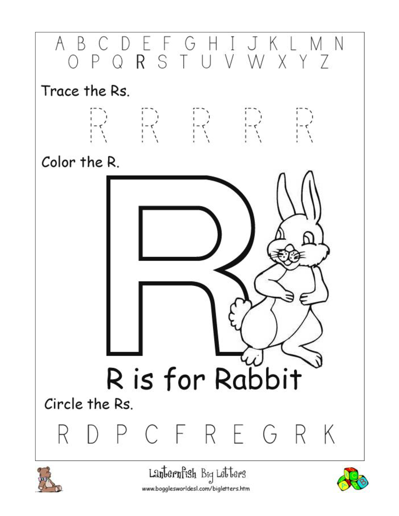 Black R Worksheet For Preschoolers