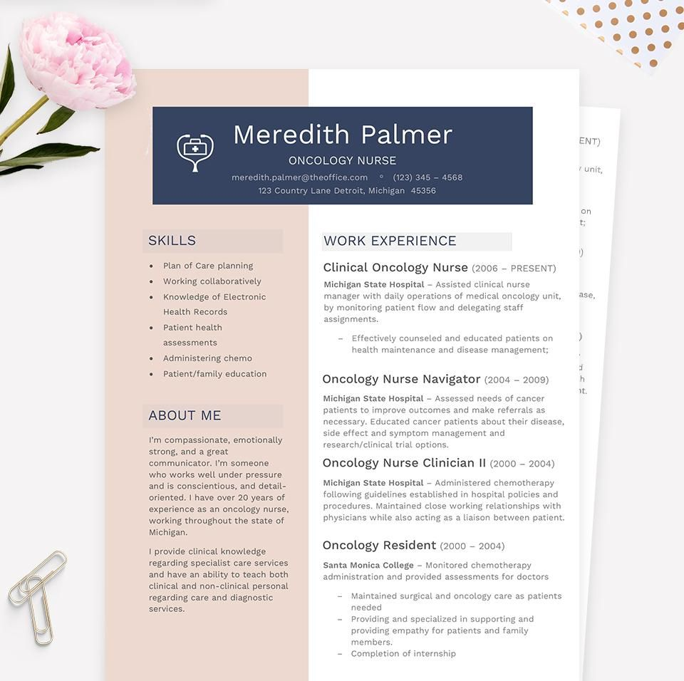 Oncology Nurse Modern Resume, Cover Letter & References