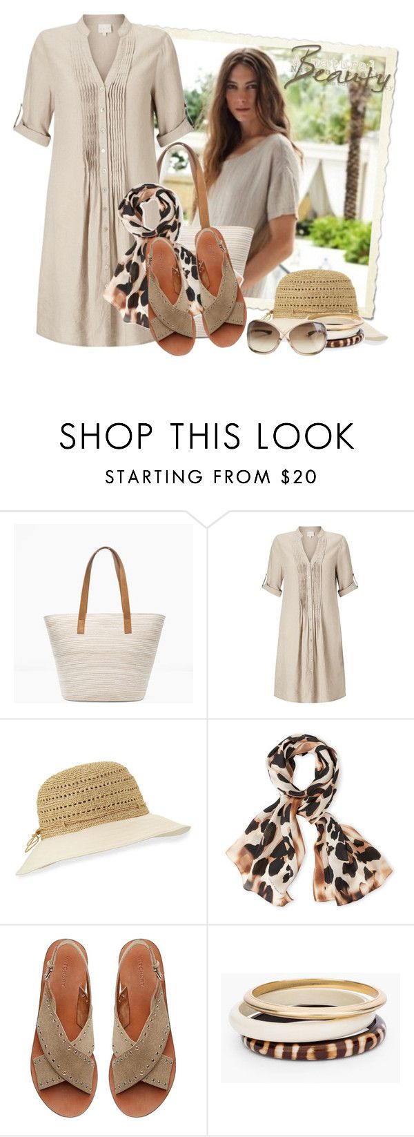 """East Pintuck Linen Dress , Stone"" by tasha1973 ❤ liked on Polyvore featuring Chico's, EAST, Helen Kaminski, Vince Camuto, Witchery and Tom Ford"