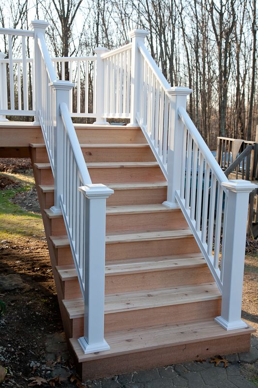Best Cedar Deck Stairs With Azek Composite Railing In Mansfield 400 x 300