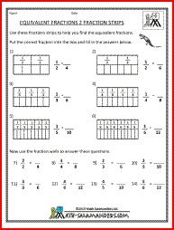 Equivalent Fractions 2, a math fraction worksheet for 4th graders ...