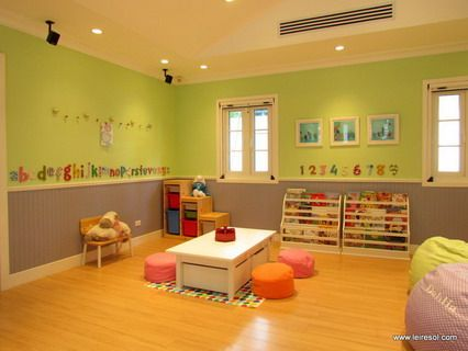 modern kindergarten classroom decoration with colorful theme
