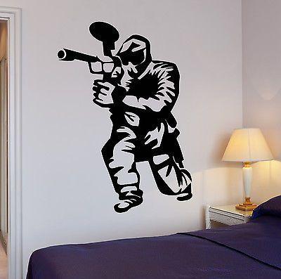 Wall Decal Paintball Gamer Boys Room Entertainment Vinyl Stickers Art (ig2557)