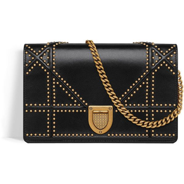0aeebd49f84d DIORAMA WALLET ON CHAIN POUCH IN BLACK STUDDED LAMBSKIN ❤ liked on Polyvore  featuring bags