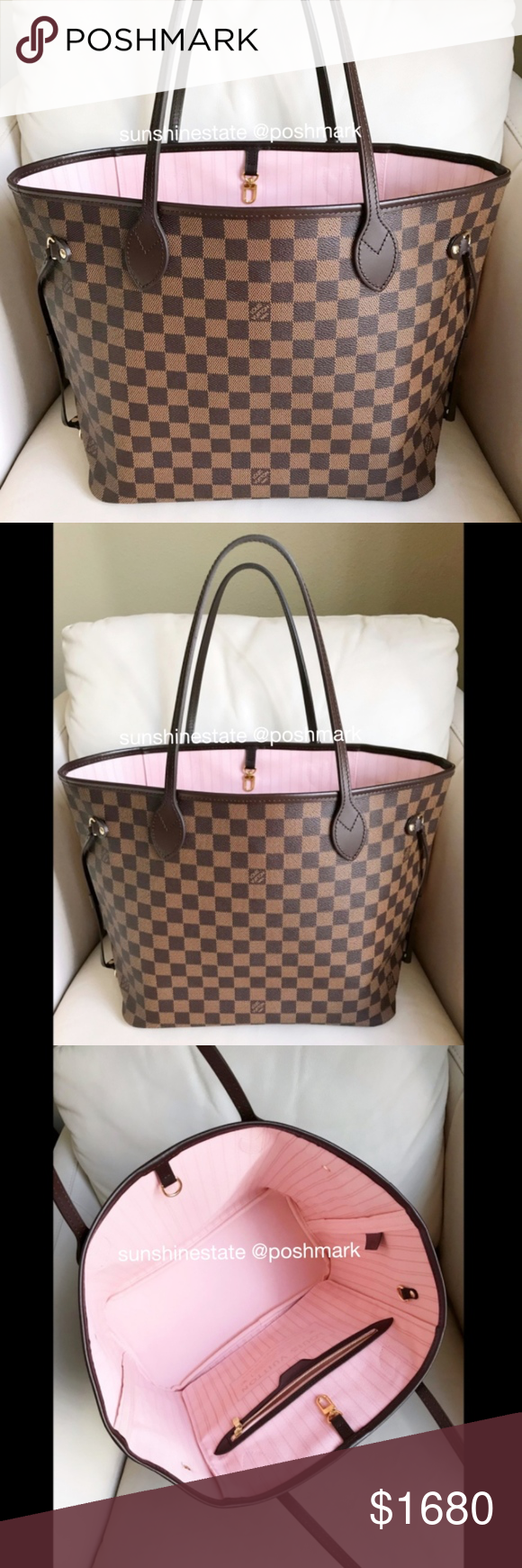 Authentic Louis Vuitton Neverfull MM Damier Ebene 100% Authentic LV  Neverfull MM Damier Ebene Rose Balleriene lining. Pouch is not included. 998e5c9139