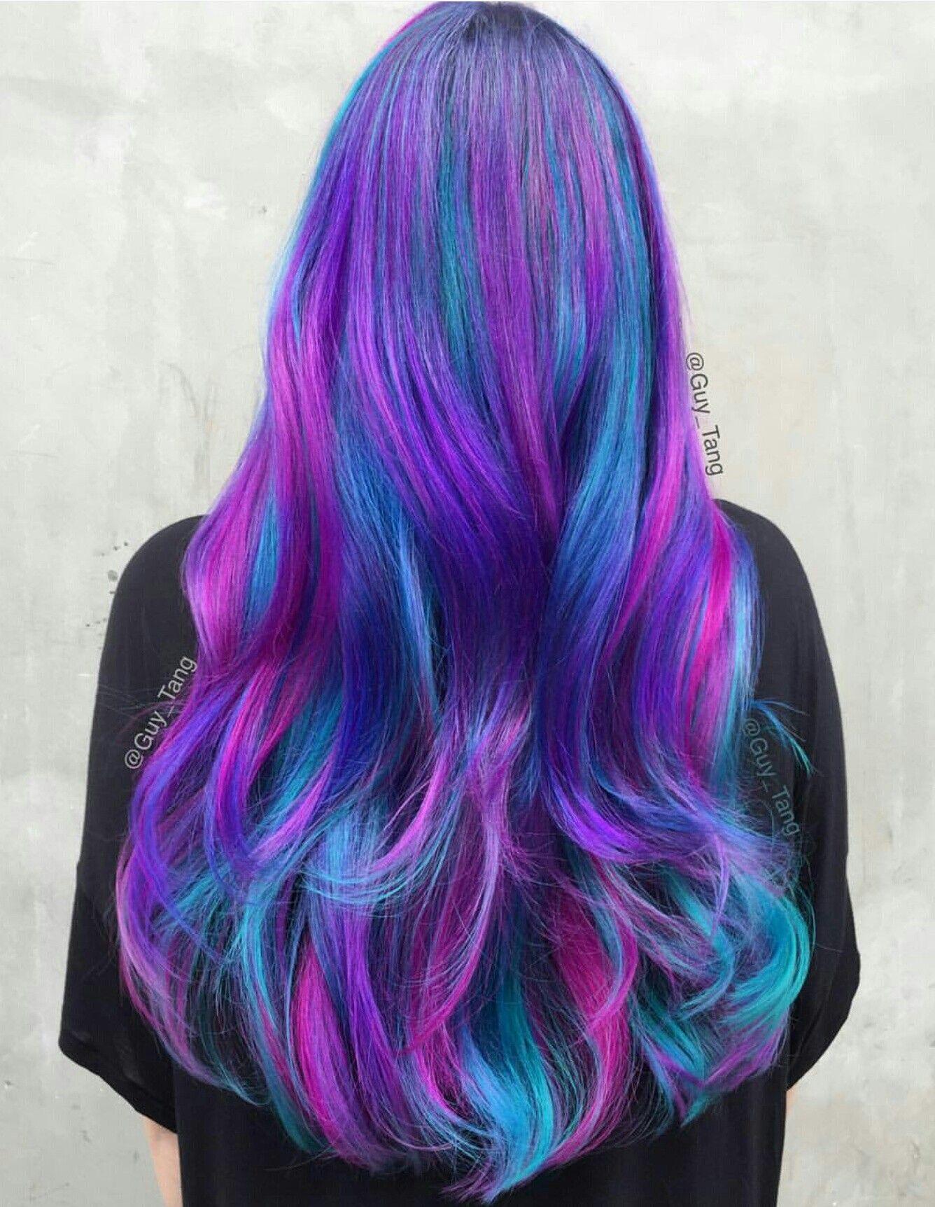 Purple Blue Pink Colorful Long Hair Galaxy Hair Color Hair Styles Cool Hair Color