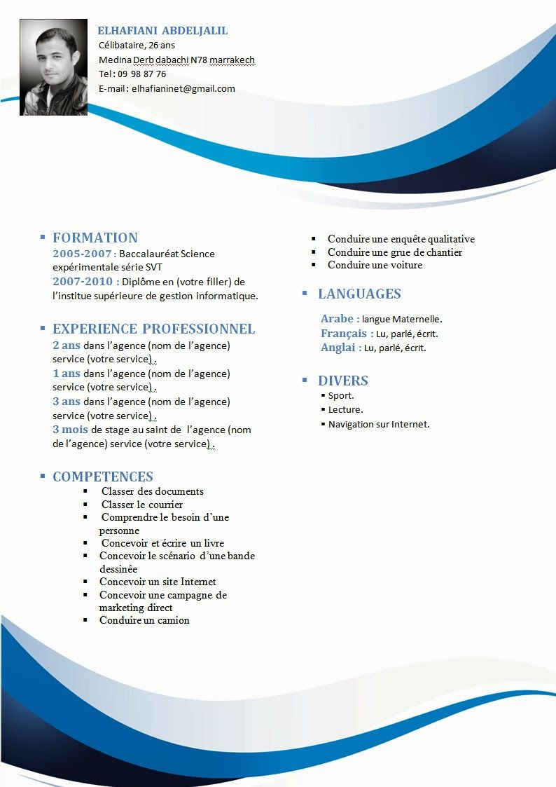 Comment Faire Un Cv Modele Cv Gratuit Format Word Curriculum Vitae Examples Curriculum Vitae Curriculum