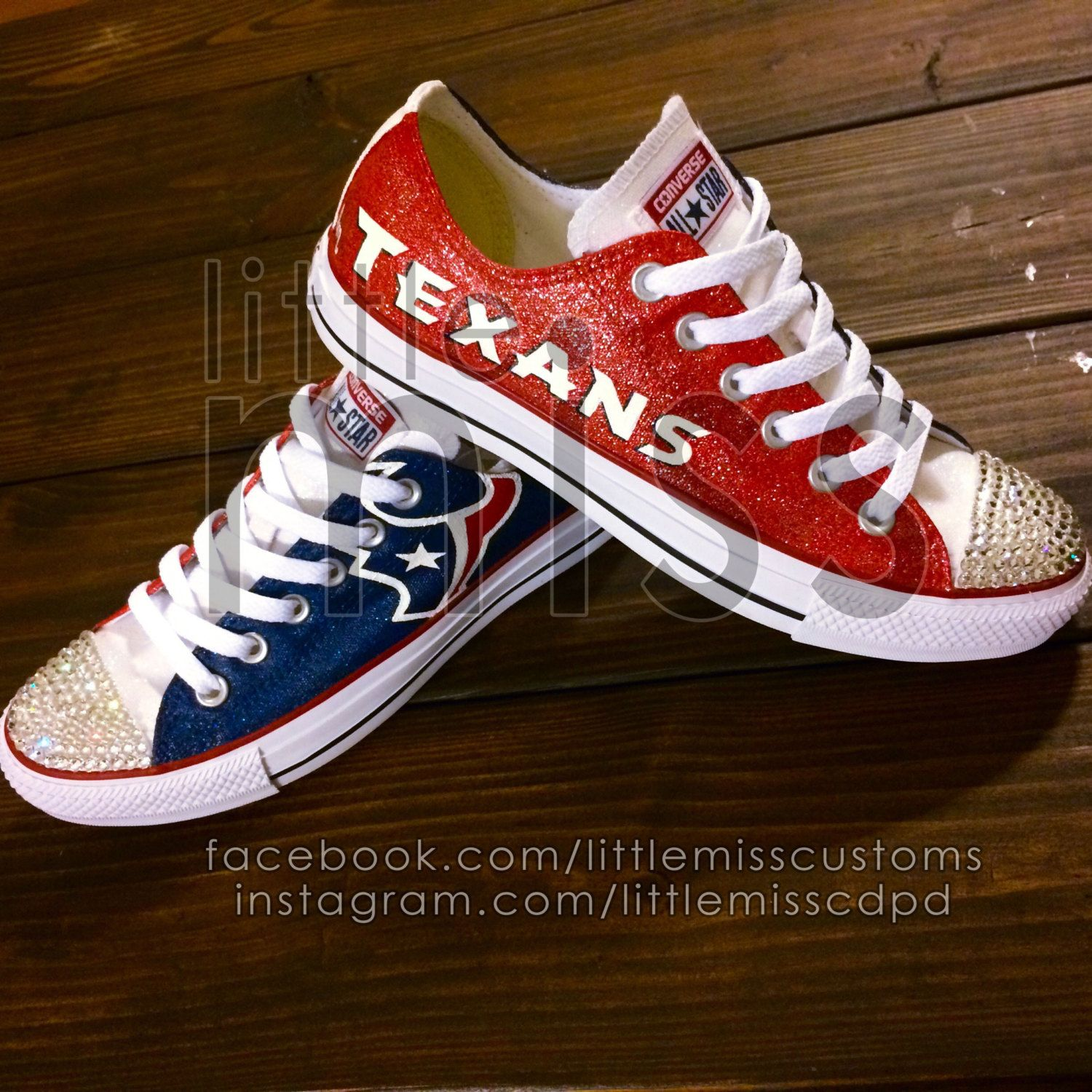 5c3582f1ace0a8 Houston Texans Bling Hand Painted Converse by LittleMissCustoms on Etsy