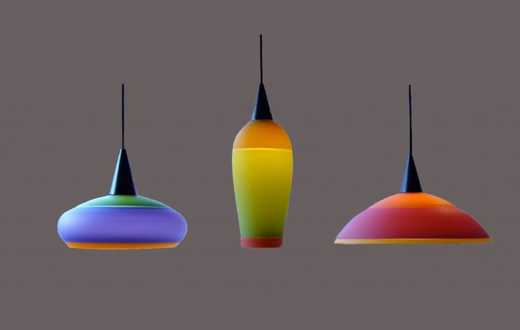 Three Color Frosted Opaque Incalmo Light Shades Tsuga Studios