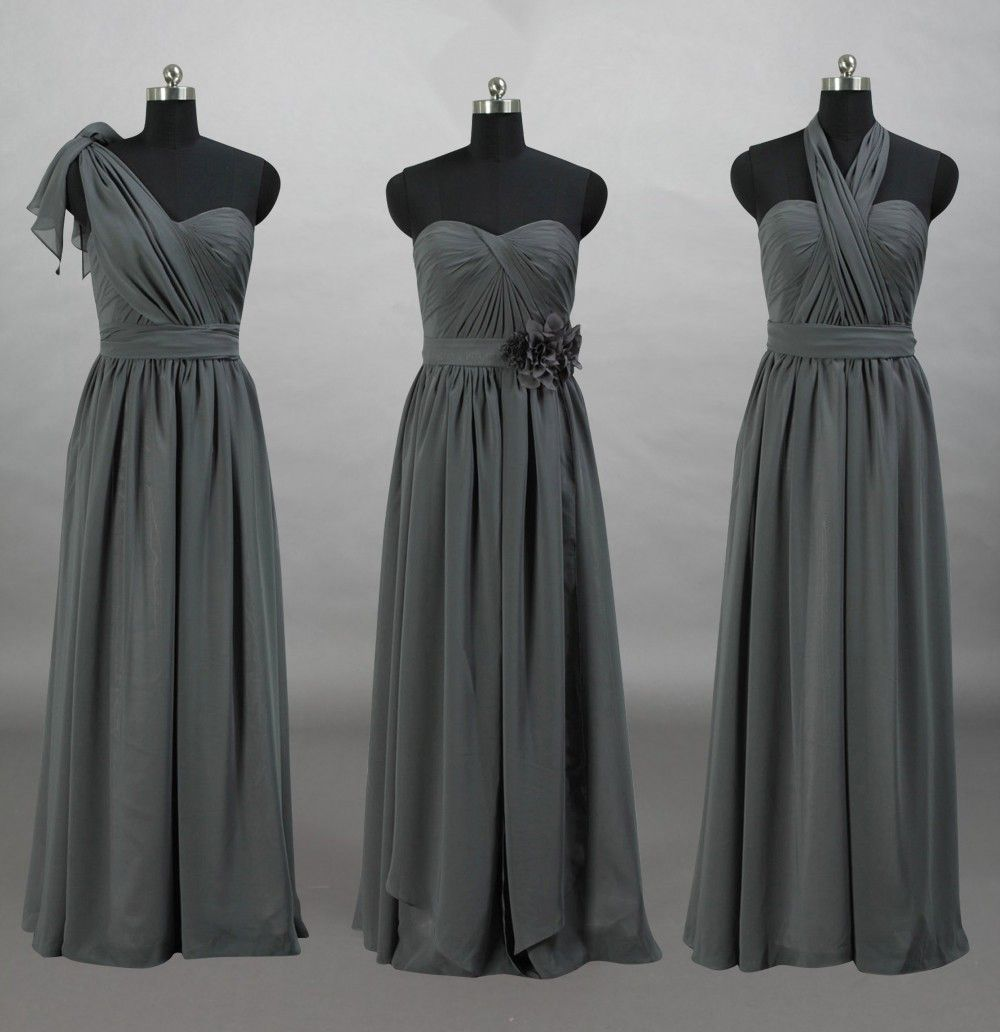 cf46aeff9f58 Convertible Sweetheart Charcoal Grey Chiffon Long Bridesmaid Dress ...