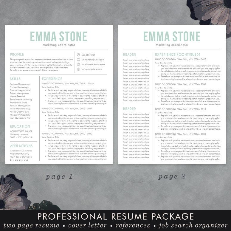 Resume Template, Modern Design, Mac or PC, Word, Free Cover Letter - word resume template mac