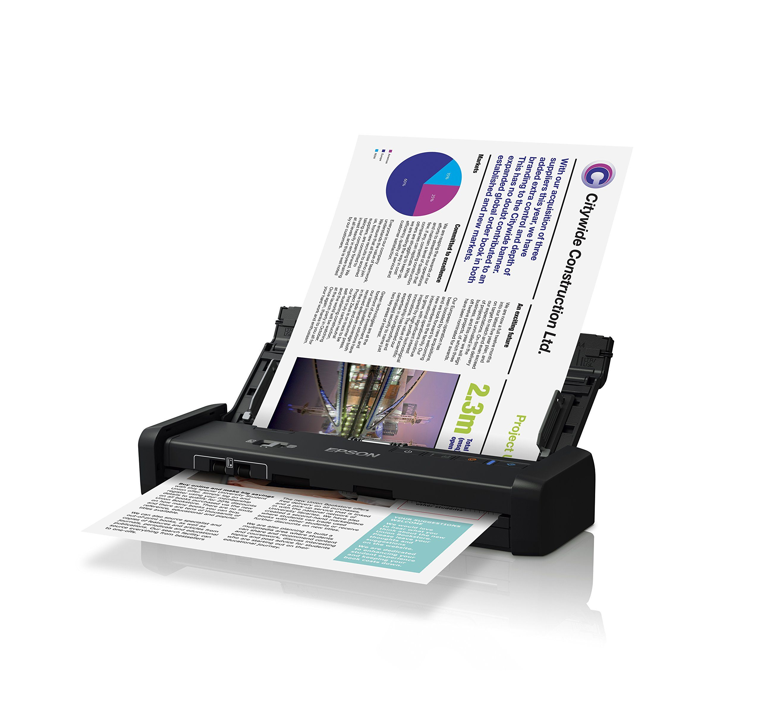 Epson DS-320 Mobile Scanner with ADF: 25ppm, TWAIN & ISIS Drivers ...