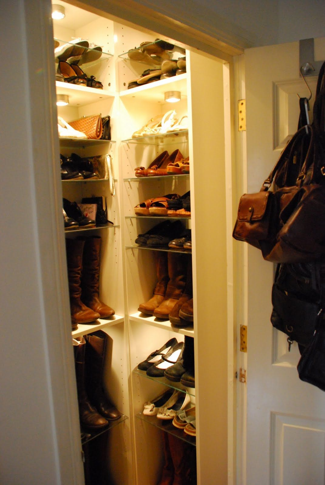 Small Closet Turned Shoe Room Via Bookshelves Lights! Love This! Maybe This  Could Be A Bday Gift!?