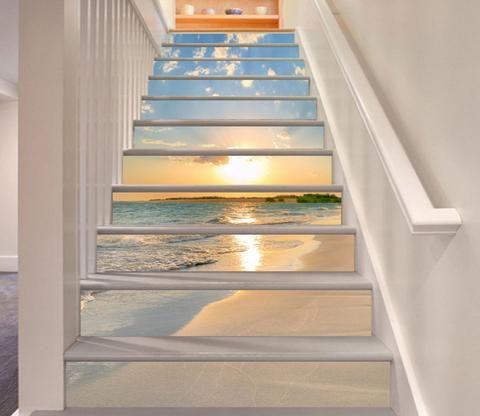 3d Beach Sunset 321 Stair Risers Diy Staircase Staircase Design Staircase Decor