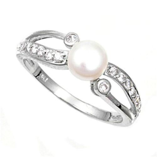 Pearl /& Cubic Zirconia  .925 Sterling Silver Ring Sizes 4-10
